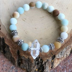 Silverskylight Jewelry - Genuine crystal quartz amazonite beaded bracelet